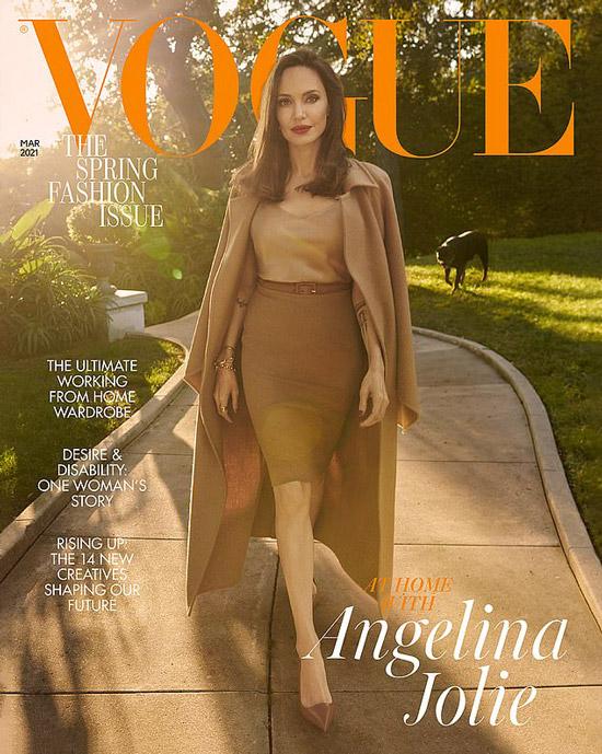 Анджелина Джоли в юбке карандаш на фотосессии Vogue