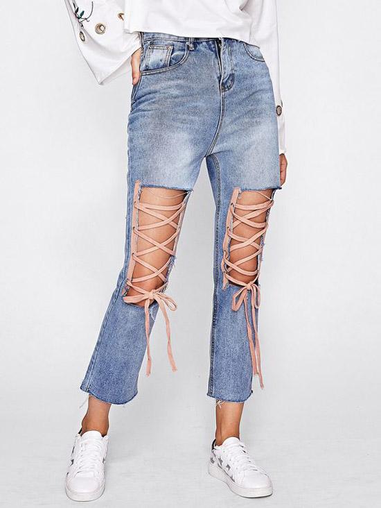 Джинсы со шнурками