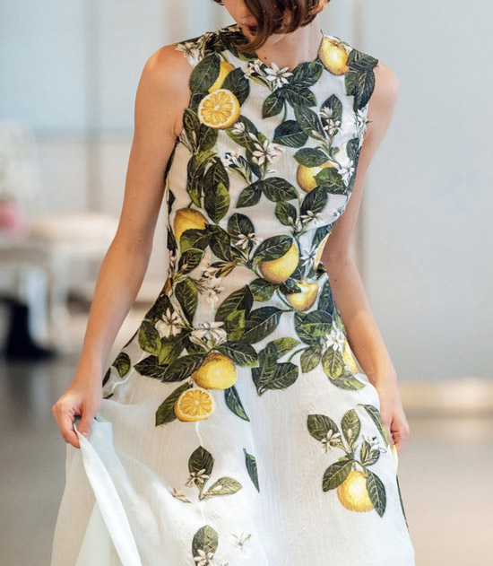 Платье с лимонами от Oscar de la Renta