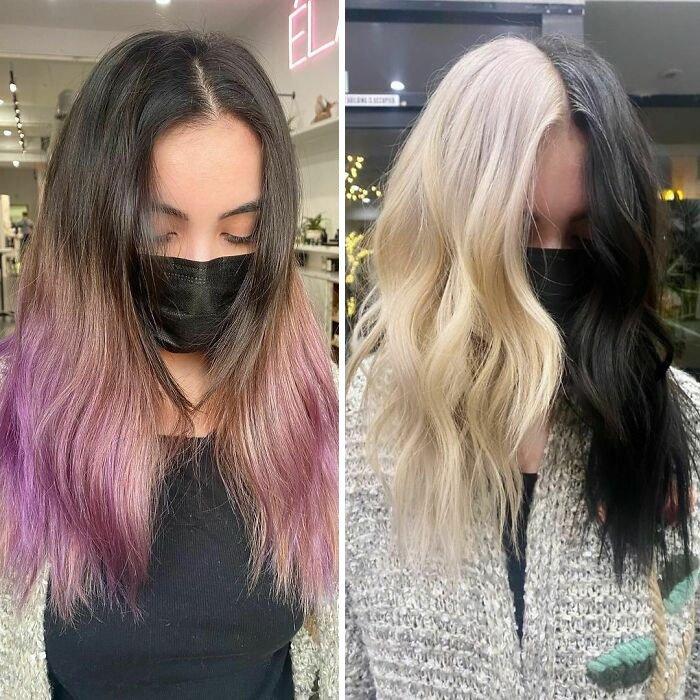 Девушка с двухцветными волосами средней длины