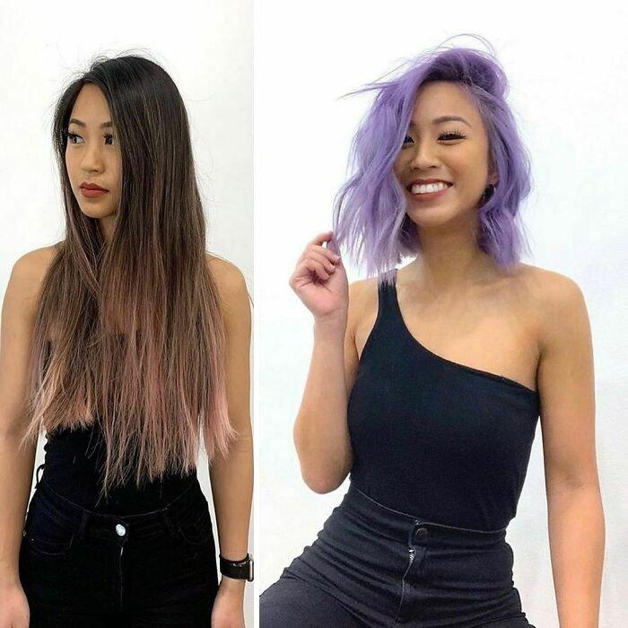 Девушка с фиолетовыми короткими волосами
