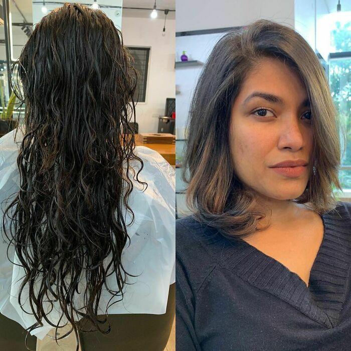 Девушка с натуральными волосами с пробором на одну сторону