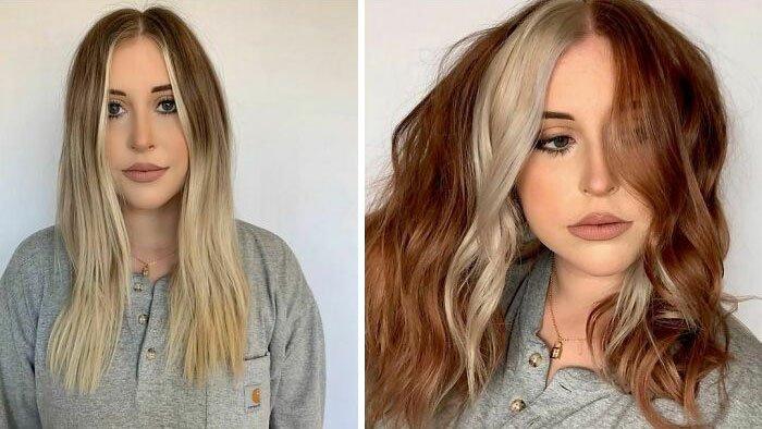 Девушка с необычным окрашиванием на волосах средней длины