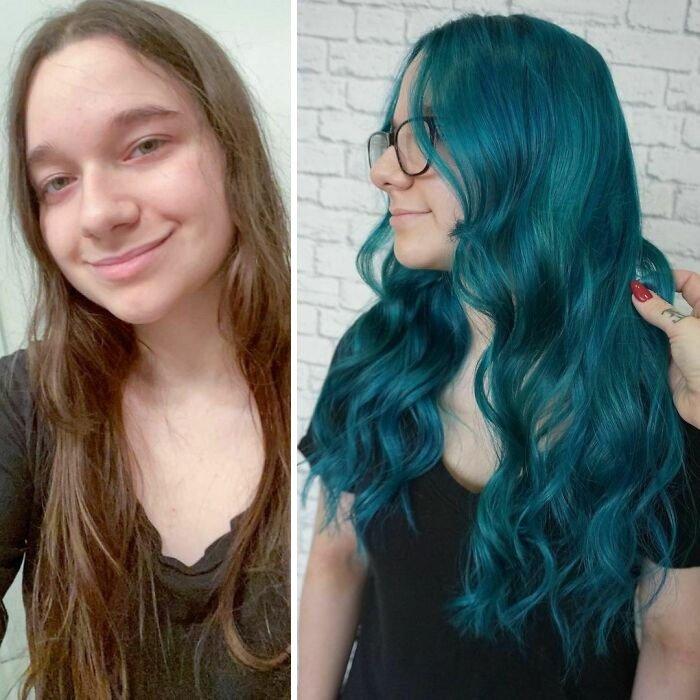 Девушка с необычным цветом на длинных волосах