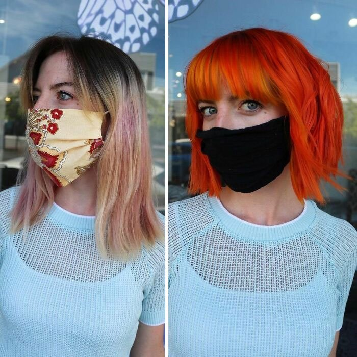 Девушка с огнено рыжими короткими волосами