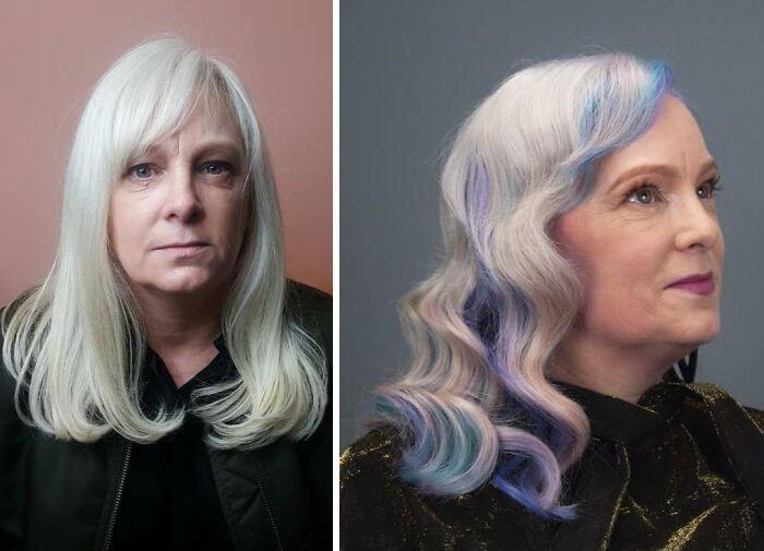 Девушка с платиновыми волосами с синими прядями