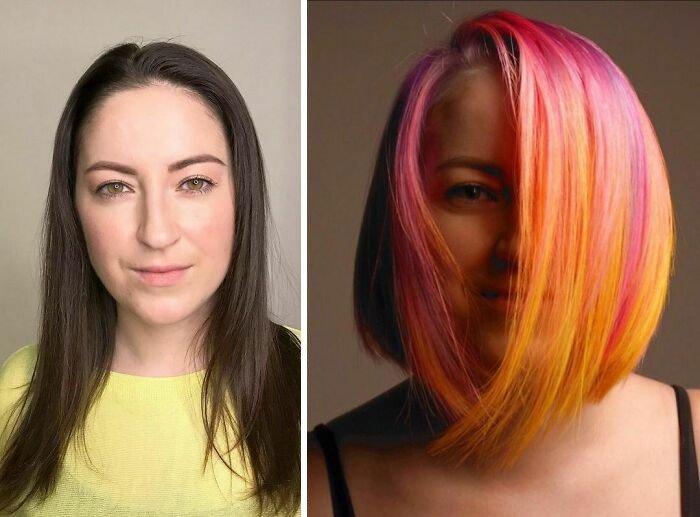 Девушка с розово оранжевыми волосами с боковым пробором