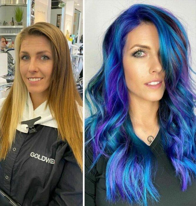 Девушка с шикарными синими волосами