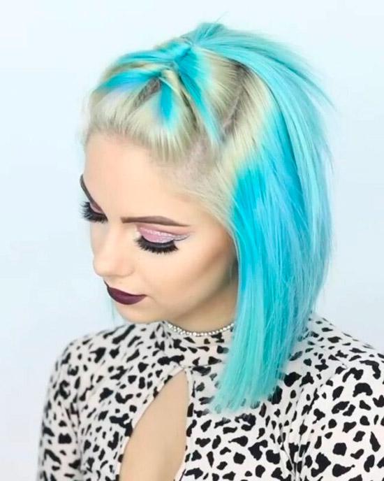 Девушка со стрижкой боб на светлых голубых волосах