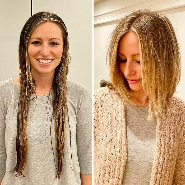 Девушка со стрижкой на светлых волосах