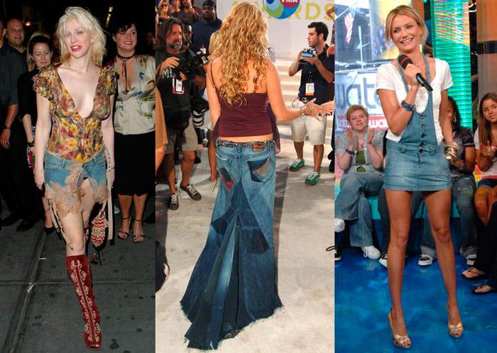Девушки в интересных моделях джинсовых юбок