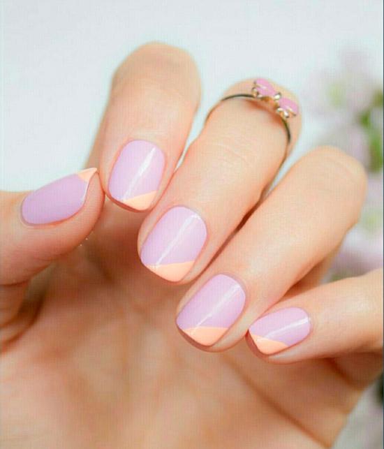Маникюр на коротких ногтях в пастельных оттенках