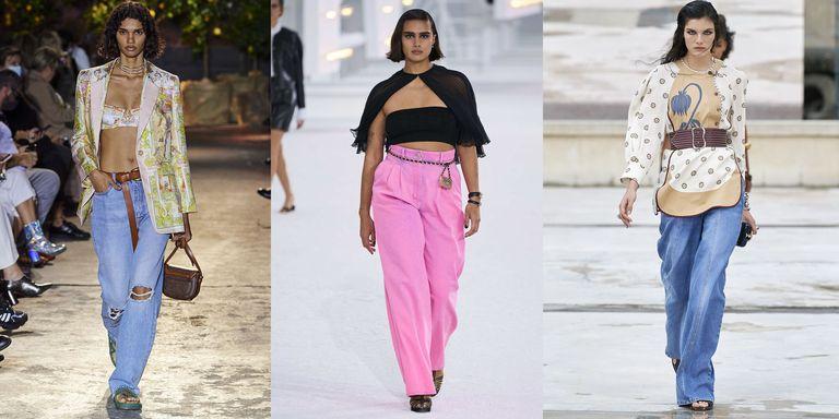 Модели в широких джинсах на подиумах