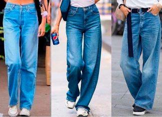 Все секреты ношения синих мешковатых джинсов весной 2021 года