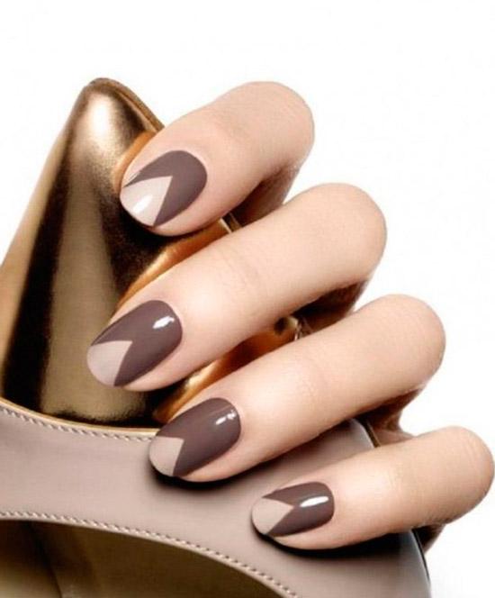 оригинальный коричнево серый маникюр на натуральных ногтях