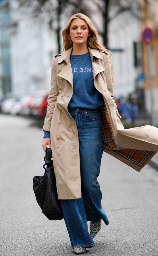 Тренч с широкими джинсами на весну 2021