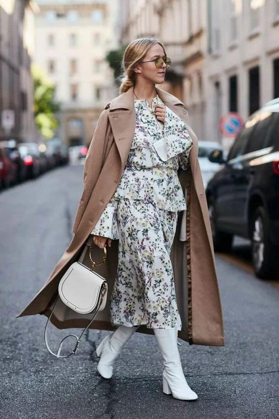 Образ с платье и пальто на весну 2021