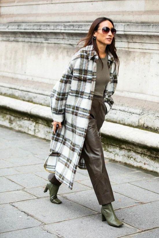 Весенний образы с кожаными брюками и пальто