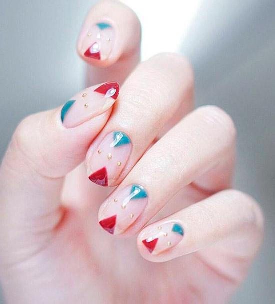 Интересный двухцветный маникюр на квадратных ногтях