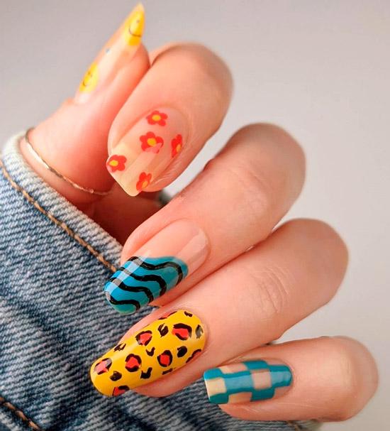 Необычный весенний дизайн на длинных ухоженных ногтях