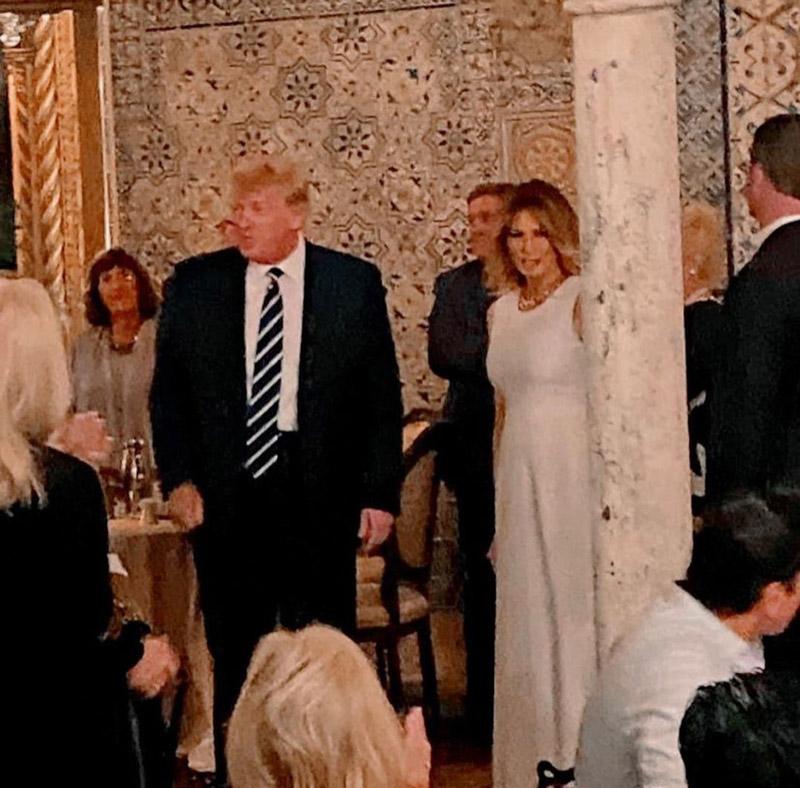Мелания Трамп в платье без рукавов на гламурном ужине