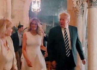 Мелания Трамп в белом платье и туфлях с пряжкой привлекает всеобщее внимание на гламурном ужине