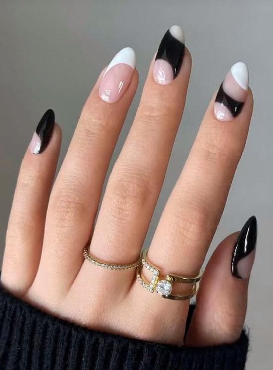 Черно белый френч на длинных ногтях