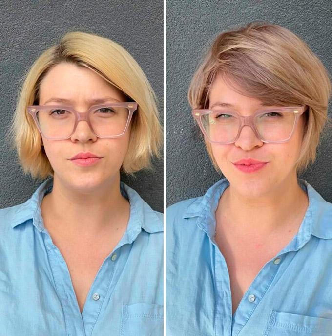 Девушка с короткой стрижкой на светлых волосах с пробором на одну сторону