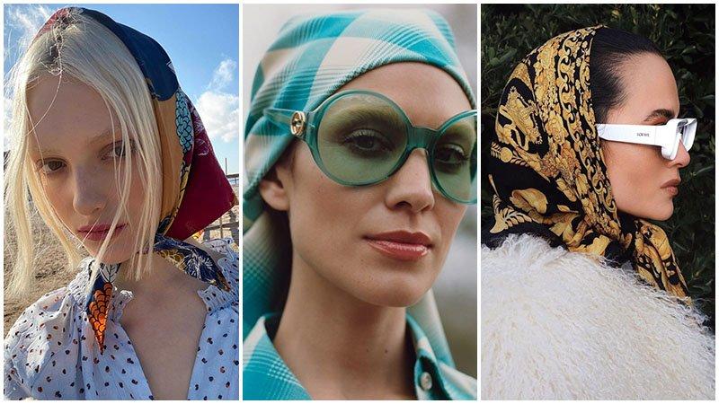 Девушки с платками на головах, модный образ