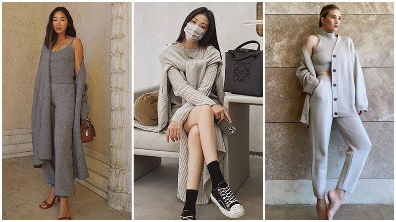 Девушки в нейтральных костюмах серых оттенков