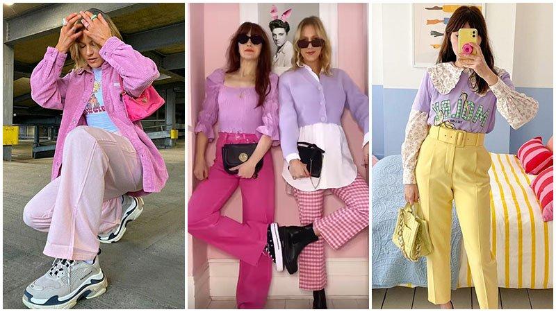 Девушки в шикарных ансамблях одежды в пастельных оттенков