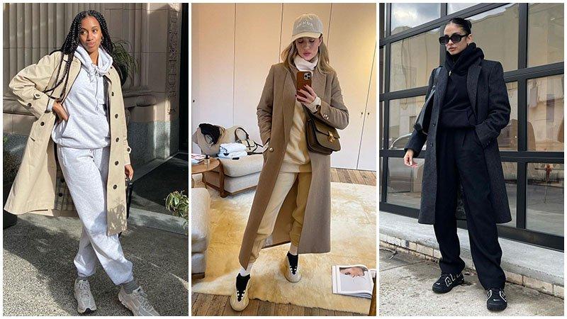 Модная тенденция - спортивный костюм и нейтральное пальто