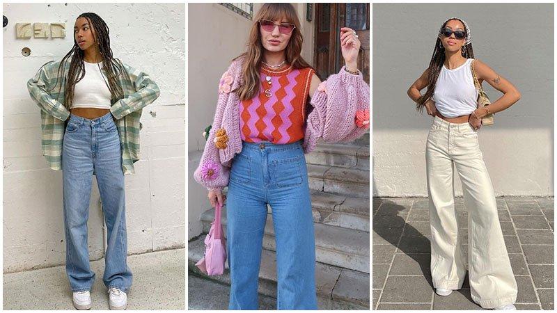 Модный тренд - джинсы с широкими штанинами