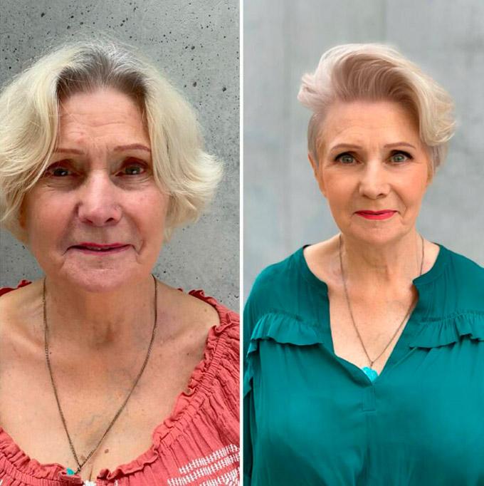 Женщина с короткой шикарной стрижкой на светлых волосах