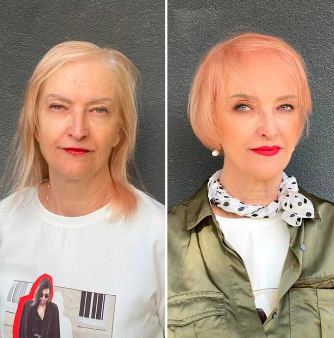 Женщина с розовыми короткими волосами с челкой