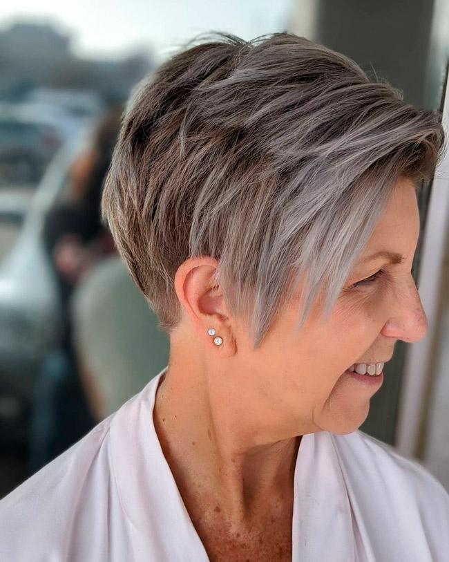 Короткая прическа с андеркатом для тонких волос