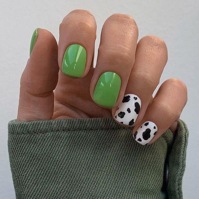 Бело-зеленый маникюр с коровьим принтом на коротких ногтях