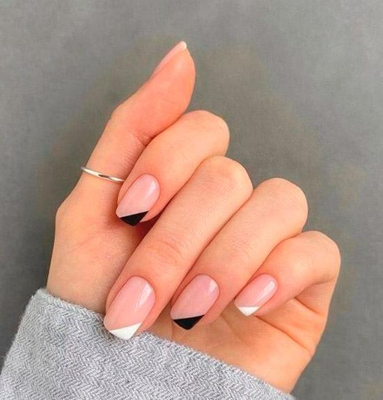 Диагональный френч на квадратных ногтях средней длины