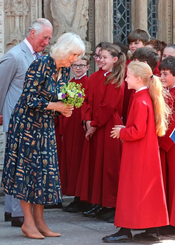 Английская герцогиня в платье с перьями и бежевых лодочках