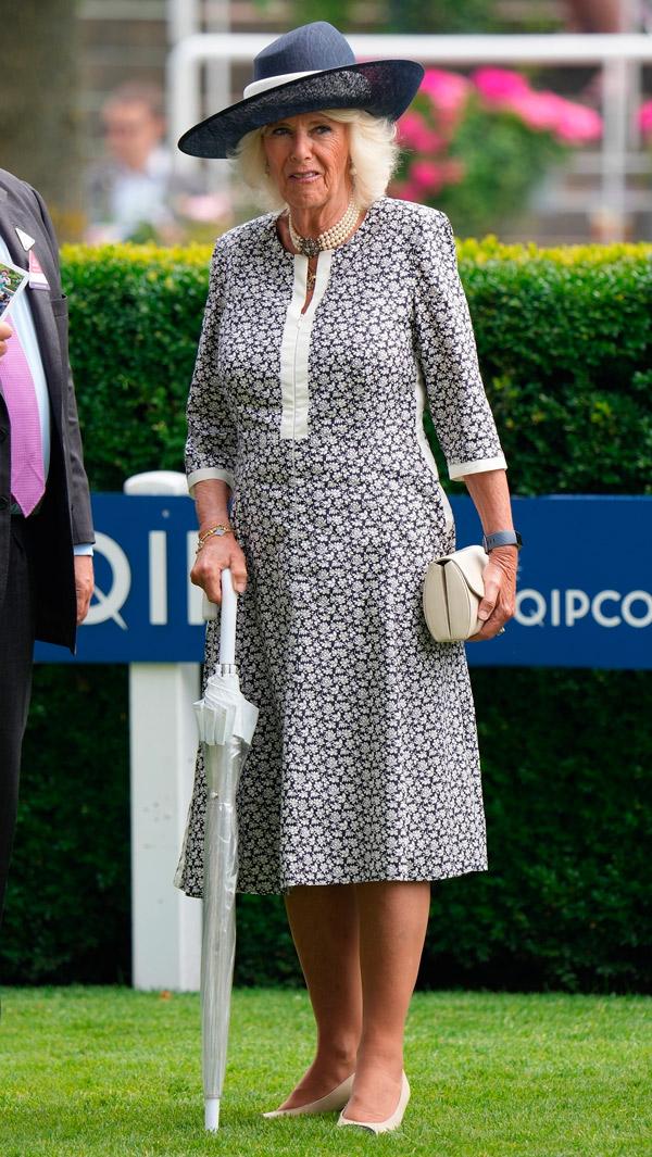 Герцогиня Камилла в простом платье и несочетающихся аксессуарах