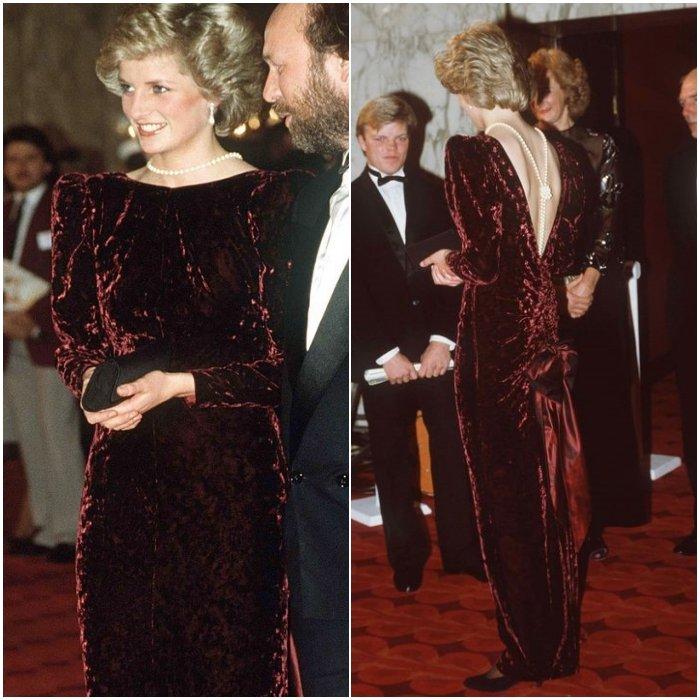 Принцесса Диана в бордовом бархатном платье с открытой спиной