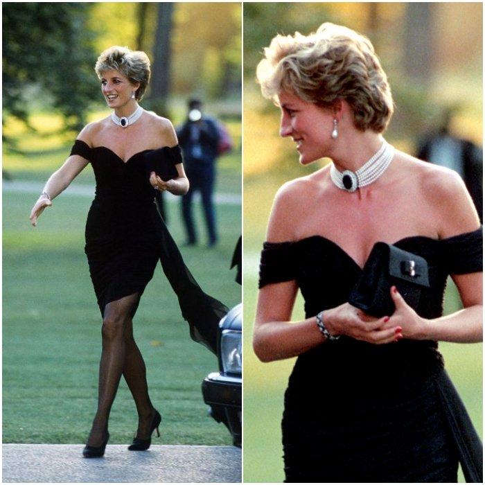 Принцесса Диана в черном мини платье с открытым декольте, образ дополняют черные туфли лодочки и колье