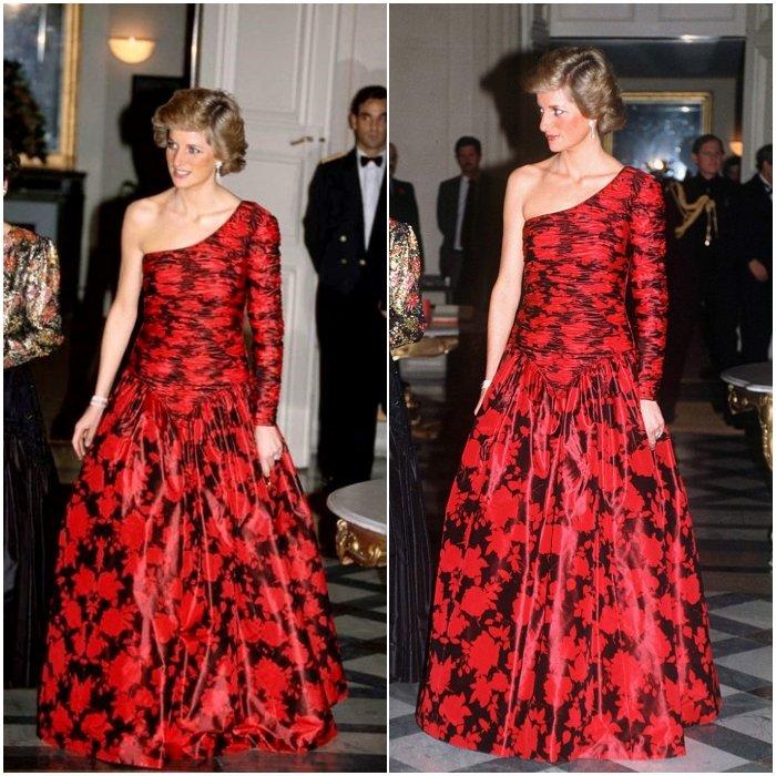 Принцесса Диана в красно-черном платье макси на одно плечо