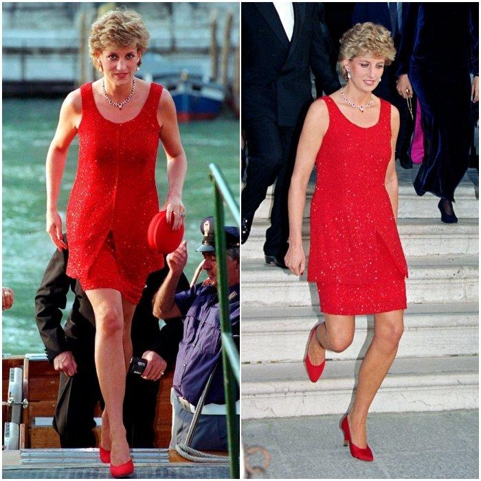 Принцесса Диана в красном мини платье с круглым вырезом, образ дополняют красные туфли лодочки и круглая мини сумочка