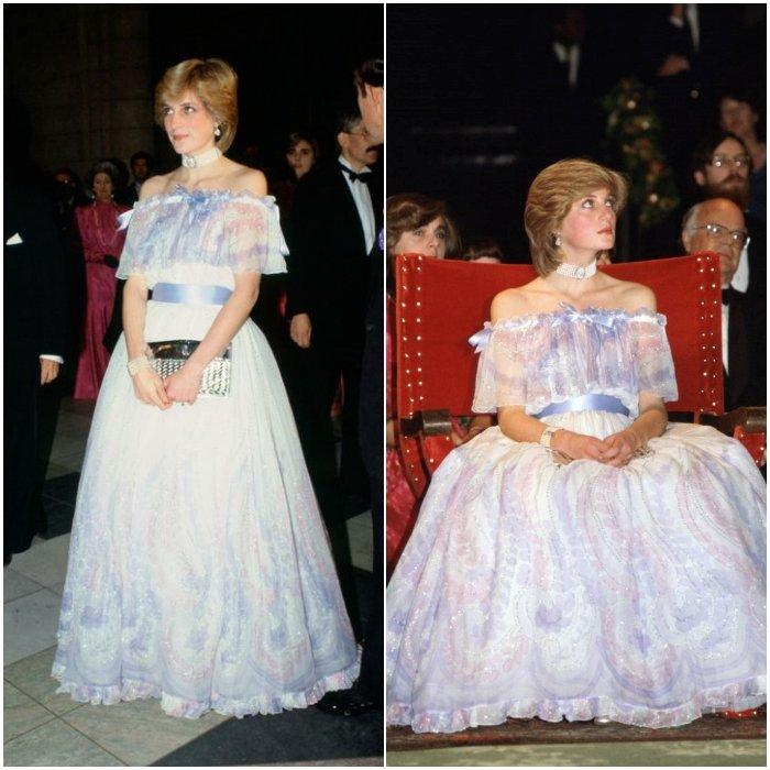 Принцесса Диана в романтичном голубом платье с открытыми плечами и лентой на талии