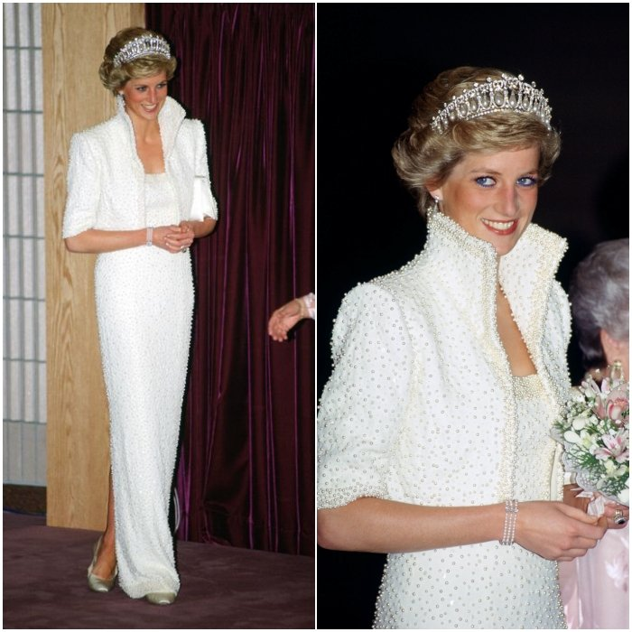 Принцесса Диана в роскошном белом платье до пола с жемчугом, образ завершает диадема