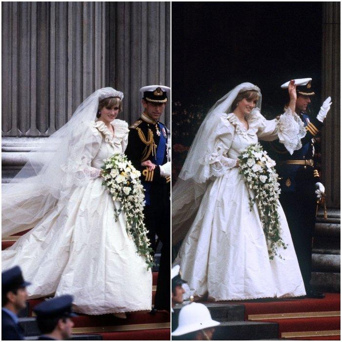 Принцесса Диана в роскошном свадебном платье с длинной фатой