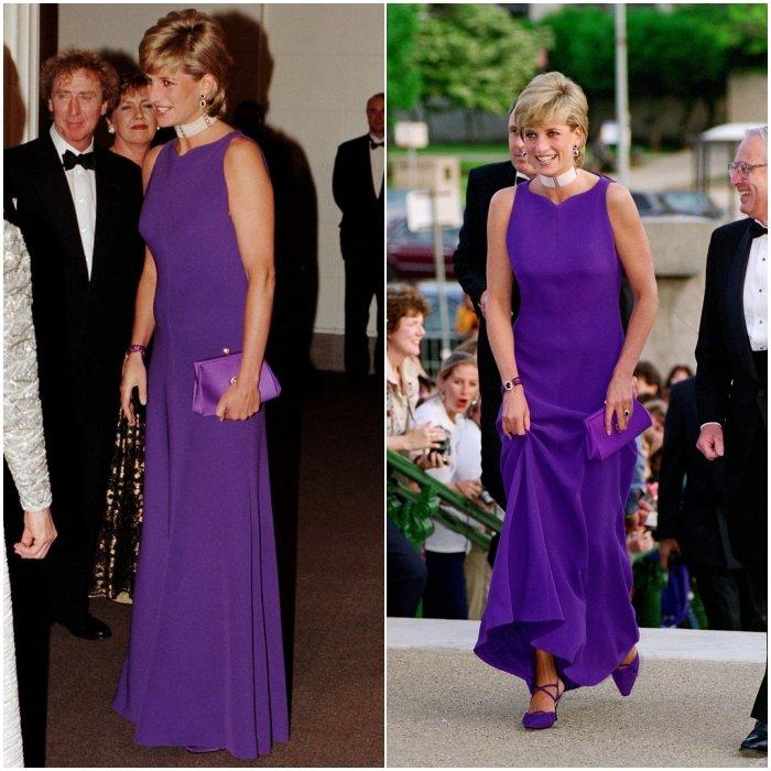 Принцесса Диана в шикарном фиолетовом платье до пола, образ дополняют туфли и сумочка в тон