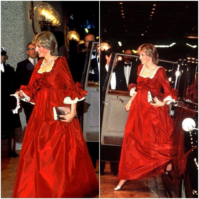 Принцесса Диана в сказочном красном платье до пола с рюшами и бантами