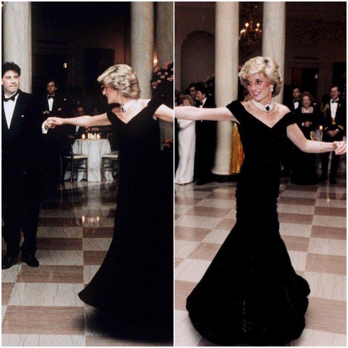 Принцесса Диана в вечернем черном платье макси с открытым декольте